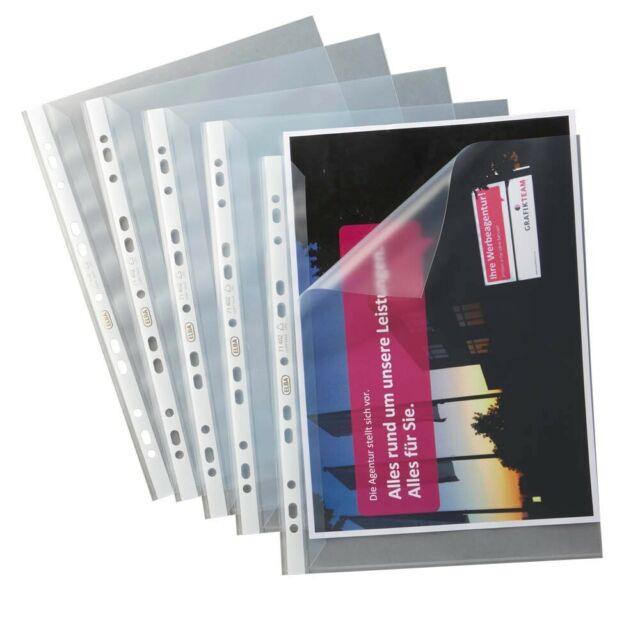 100x Elba Prospekthülle Standard Sichthülle A4 transparent genarbt Lochung PP