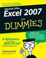 Excel 2007 For Dummies By Greg Harvey, (paperback), For Dummies , New, Free Ship on sale