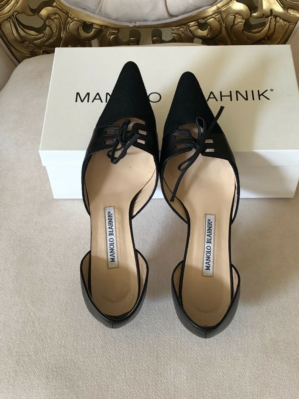 MANOLO BLOHNIK scarpe pelle tela Almazan vitello di dimensioni  nere US 6.5B UK 36.5  benvenuto a scegliere
