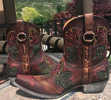 """NEW/NIB Old Gringo Jazmin 2 colorful tooled Leather Boots 7 western cowboy 8"""""""