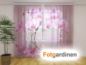 fotogardinen aus chiffon orchidee vorhang mit motiv fotodruck auf ma ebay. Black Bedroom Furniture Sets. Home Design Ideas