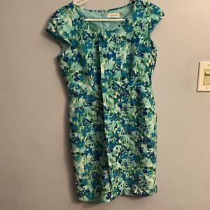 Klein Grenen Bureau.Details About Calvin Klein Sleeveless Women S Blue Green Teal Sheath Dress 4p Petite Office Ch