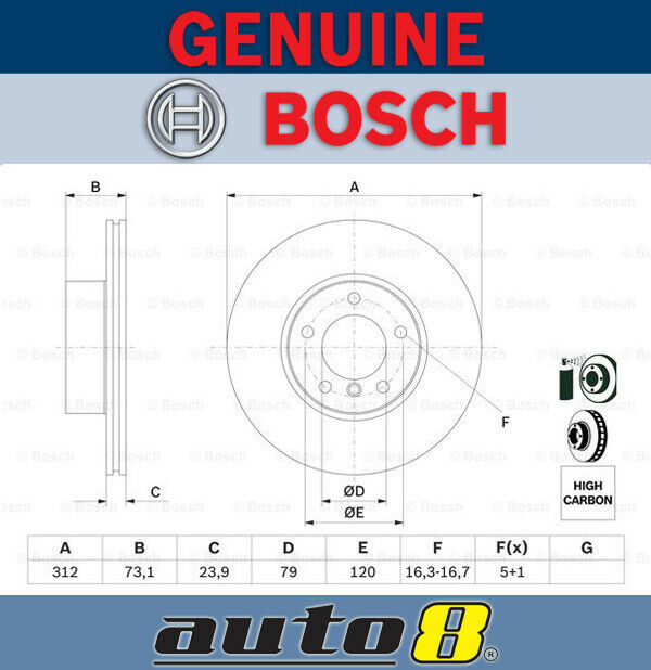Bosch Front Brake Disc Rotor for Bmw 3-Serie E 93 2.5L N52 B25 2007 - 2013