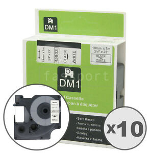 10pk Black on White Tape Label Compatible for DYMO 45803 D1 19mm 3/4""