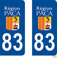 2 Stickers plaque AUTO adhésif département 83