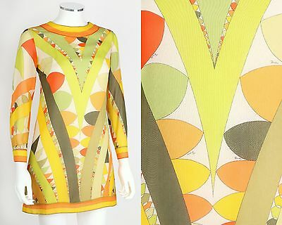 VTG 60s EMILIO PUCCI LIME GREEN CITRUS PRINT MOD LONG SLEEVE SILK SHIFT DRESS 6