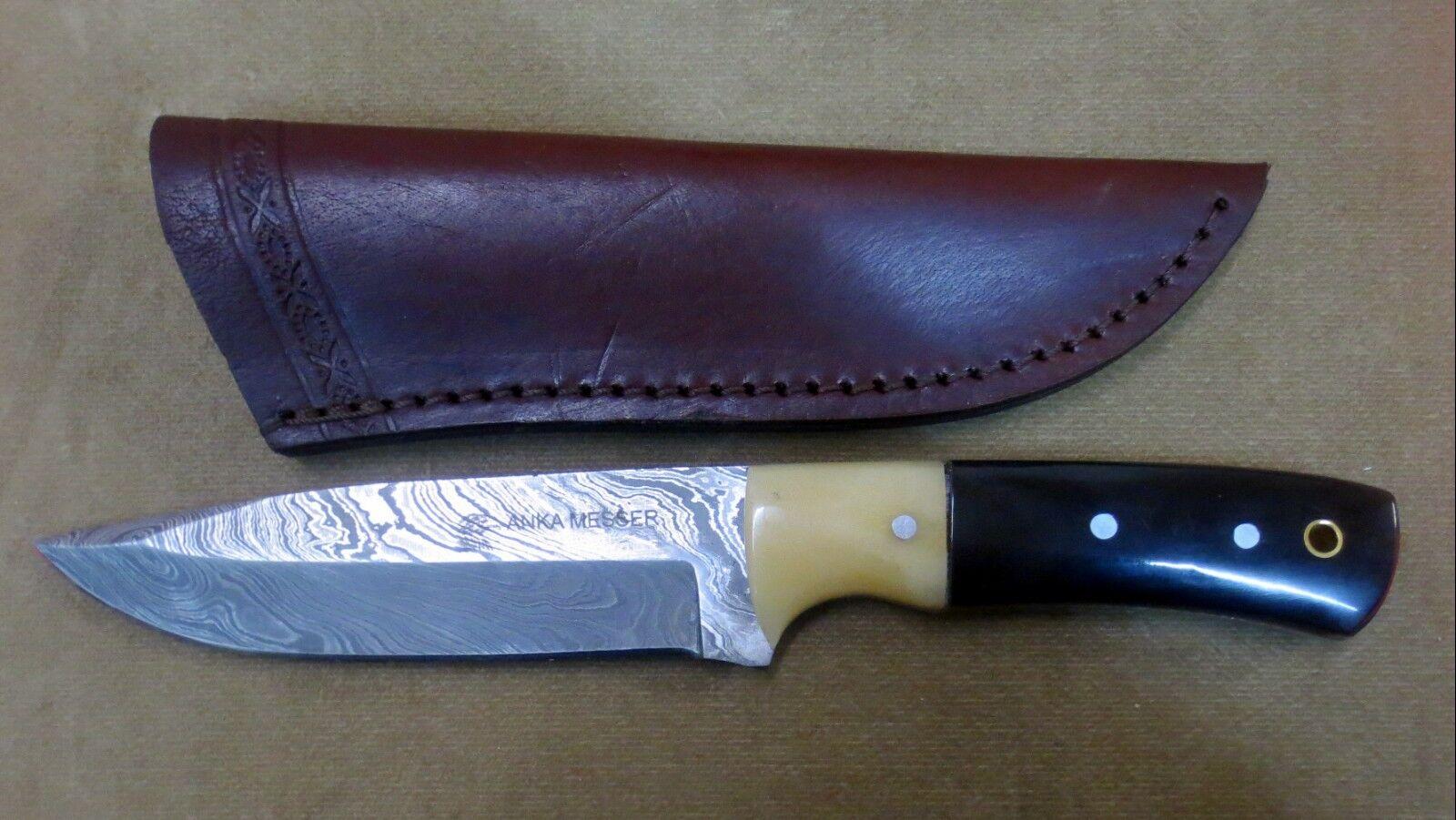 Anka Messer - Damaststahl-Taschen-Jagdmesser  Bullhorn Gürtel Leder-Scheide