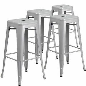 Astounding Details About 4Pc Square Metal Bar Stool Stackable Counter Height Seat Indoor Outdoor Silver Ncnpc Chair Design For Home Ncnpcorg