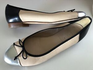 J-Crew-Italy-Nude-Leather-With-Black-Trim-Bow-Slip-On-Ballet-Flats-Sz-6