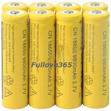 8pcs 18650 3.7V 9800mAh Yellow Li-ion Rechargeable Battery Cell For Torch MC
