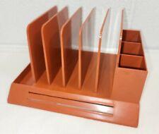 Vintage Max Klein Plastic Orange Desk Table Letter Office Pens Bills Organizer