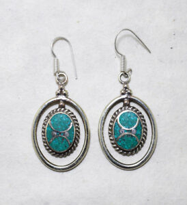 Ethnic-sterling-silver-earrings-Asian-Turquoise-Tibetan-jewelry-Handmade-E5