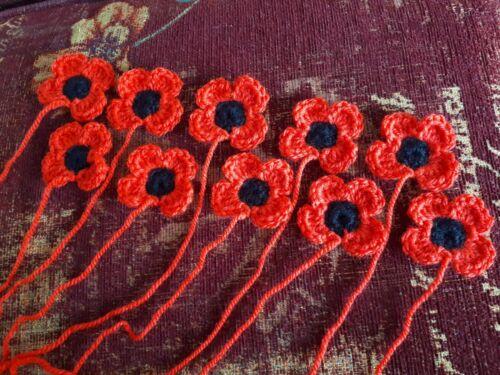10 Crochet POPPYS environ 2 in environ 5.08 cm