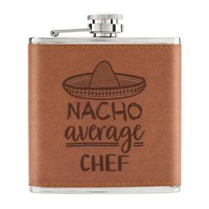 Nacho-Moyenne-Chef-170ml-Cuir-PU-Hip-Flasque-Fauve-Worlds-Best-Cook-Drole-Genial
