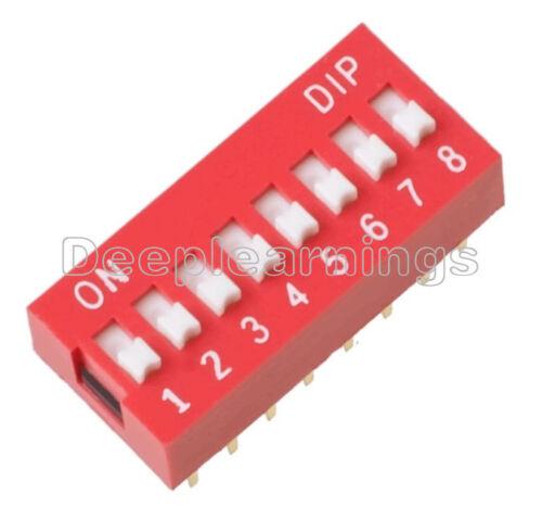 Módulo de conmutador Deslizante Tipo 10PCS 2.54mm 8-Bit 8 posición forma Dip Tono Rojo