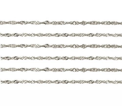 14K or Blanc Singapour Chaîne étincelles Collier 1.4 mm Large Anneau à Ressort Fermoir