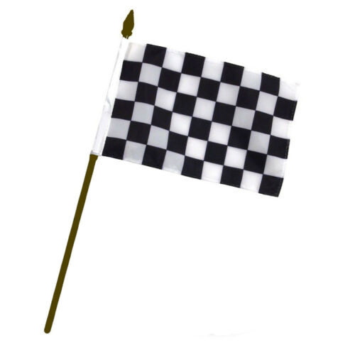 """Black and White Checkered Racing Gold Staff 4/""""x6/"""" Desk Table Flag"""