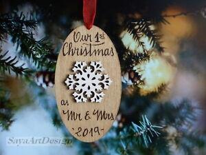 Personnalisé Noël Tree Décoration Gravée Babiole Cadeau-Premier Noël