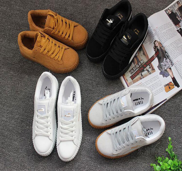 NEW WOMENS LADIES PLATFORM FLATFORM CHUNKY LACE UP TRAINERS CREEPERS SHOES SIZE