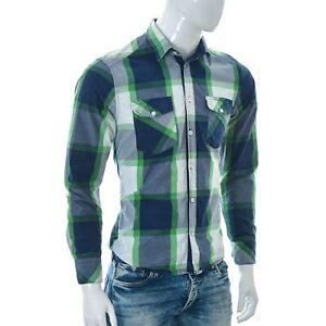 Jack-amp-Jones-Premium-da-Uomo-Casual-Camicia-Manica-Lunga-Blu-Medio