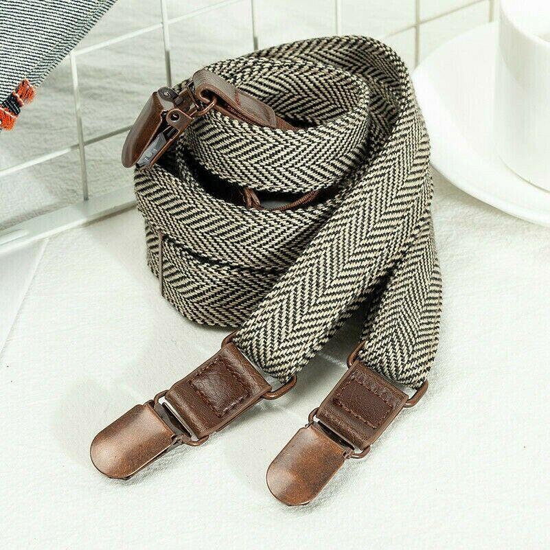 Men 20mm Wide Braces Y-Back Trouser Retro Herringbone Suspenders Adjustable Chic