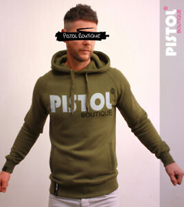 Pistole-Boutique-Heavy-Weight-khaki-Pullover-Brust-Logo-Fashion-Raglan-Hoodie