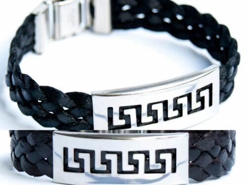Hommes Bracelet acier inoxydable Noir Brun Bracelet méandres ornement bracelet NEUF