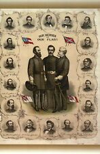 Heroes of Confederacy, Confederate Robert E. Lee  Jackson etc Civil War Postcard