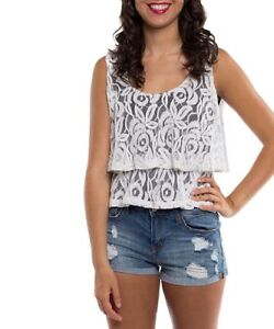 Vest-Top-Size-10-Black-With-Lace-Overlay-Layered-Top
