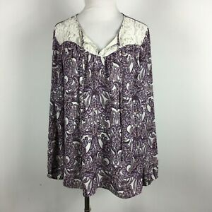 Black-Rainn-XL-Top-Blouse-Popover-Purple-Paisley-Lace-Tie-Neck-Stretch-Cuff