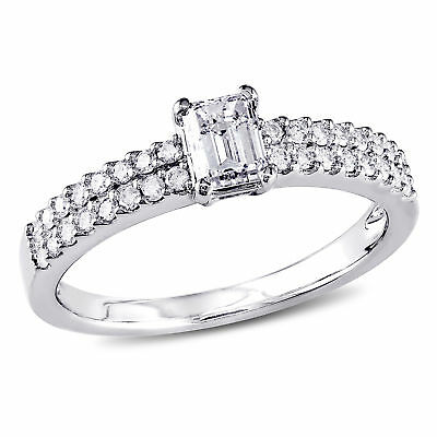 Amour 3/4 CT TW Emerald Cut Diamond Engagement Ring in 14k White Gold
