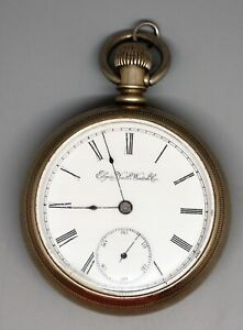 Antique-1894-Elgin-Pocket-Watch-Size-18-Clear-Salesman-Sample-Case-Runs-NICE