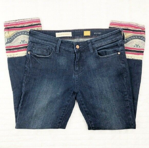 Pilcro and the Letterpress Paisley Cuffed Jeans Size 25 GREAT Condition