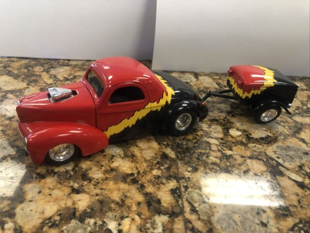 1941 Willys Coupe Bank With Trailer 1/24 Hot Rod Limited Edition Red Black