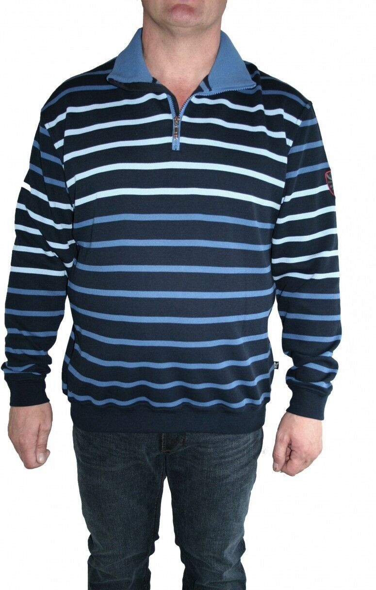 Hajo Sweatshirt Langarm 25816 609 marine/blau gestreift