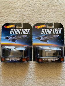 2014-HOTWHEELS-RETRO-TV-SERIES-STAR-TREK-USS-ENTERPRISE-NCC-1701-LOT-of-2x