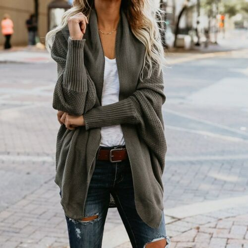 New Bat Sleeve Large Size Long Knit Cardigan Sweater Women/'s Open Stitch Sweater