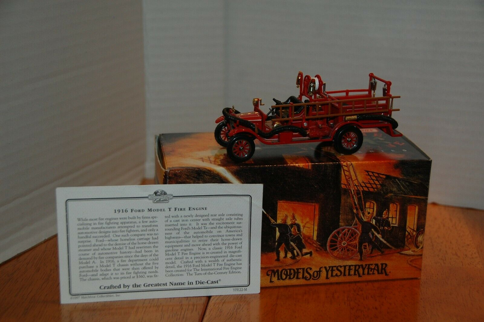 1916 Ford Model T Matchbox Fire Engine Models of Yesteryear Series Item  YFE22-M
