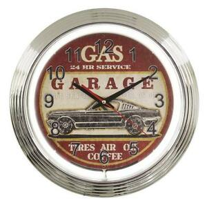 15-034-Retro-Vintage-look-Route-66-Neon-Clock-Gas-Garage-Tires-Ford-Mustang