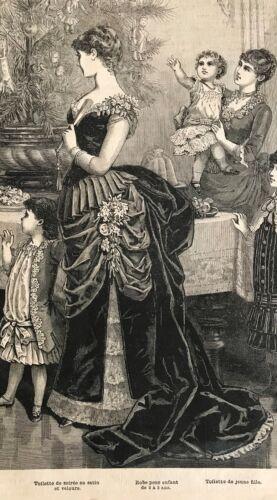 PALETOT VELVET SATIN BALL GOWN MODE ILLUSTREE SEWING PATTERN Jan 6,1884