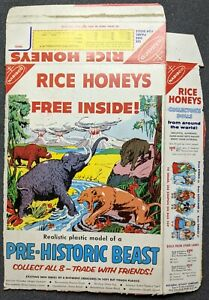 RARE 1950s Rice Honeys Pre-Historic Beast Advertisement Cereal Box Nabisco