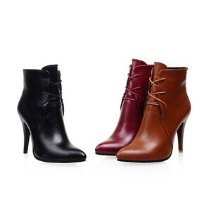 Women-039-s-Synthetic-Leather-Pointed-Toes-Shoes-High-Heels-Ankle-Boots-AU-Size-b124