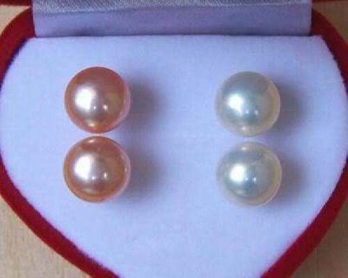 2 Paire 7-8 mm Blanc Naturel Rose Perle Argent Clous d/'oreilles AAA GRADE
