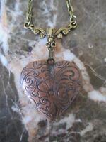 Usa Seller Vintage Copper Floral Design Heart Photo Locket Necklace Bronze Chain