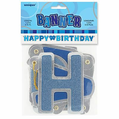 """50"""" Happy Birthday Blue Sparkle Jointed Letter Banner Party Decoration"""