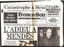 FRANCE SOIR n°11873 du 19/10/1982 ¤ SPECIAL L'ADIEU A PIERRE MENDES FRANCE MORT