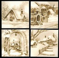 Village Greyscale Topper Card Front Buildings Winter Color Christmas Snow