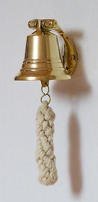 MESSINGGLOCKE  SCHIFFSGLOCKE  10 cm mit Wandhalter Messing-Antik