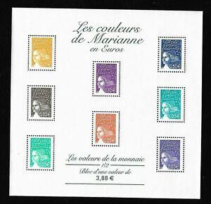 Bloc-Feuillet-2002-N-44-Timbres-France-Neufs-Les-Couleurs-de-Marianne-en-Euros