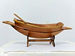Details about Thai teak wood paddle boat handcraft showing the richness  office handmade decor
